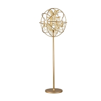 Armillary Foucault's Orb Gold Teak Crystal Floor Lamp W63190MG24-GT | Worldwide Lighting