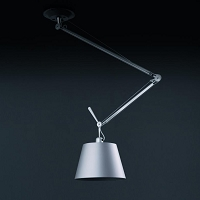 Tolomeo Off-Center Silver Fiber Shade Suspension | Artemide