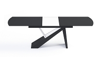 Virtuoso Dining Table in Black Glass Top Black and White Base | B-Modern