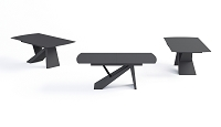 Virtuoso Dining Table in Black Glass Top Black Base | B-Modern