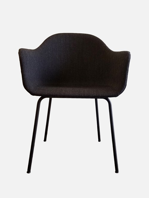 Harbour Chair Legs in Black Steel and Fabric Shell Kvadrat Fiord 191 Charcoal