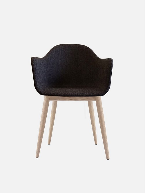 Harbour Chair Legs in Natural Oak and Fabric Shell Kvadrat Fiord 191 Charcoal