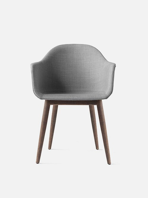 Harbour Chair Legs in Dark Oak and Fabric Shell Kvadrat Remix 2 123 Grey