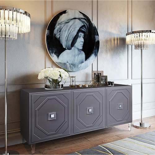 Tov Furniture Andros Grey Lacquer Buffet