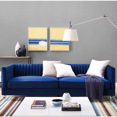 Tov Furniture Aviator Blue Velvet Sofa