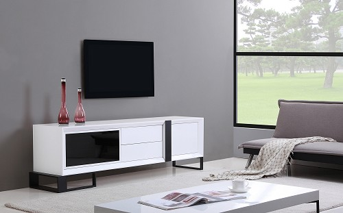 Entertainer TV Stand in White and Black | B-Modern
