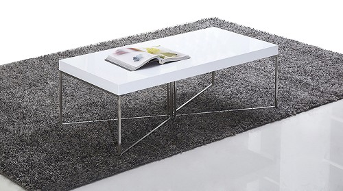 Mixer Coffee Table, White and Stainless Steel | B-Modern