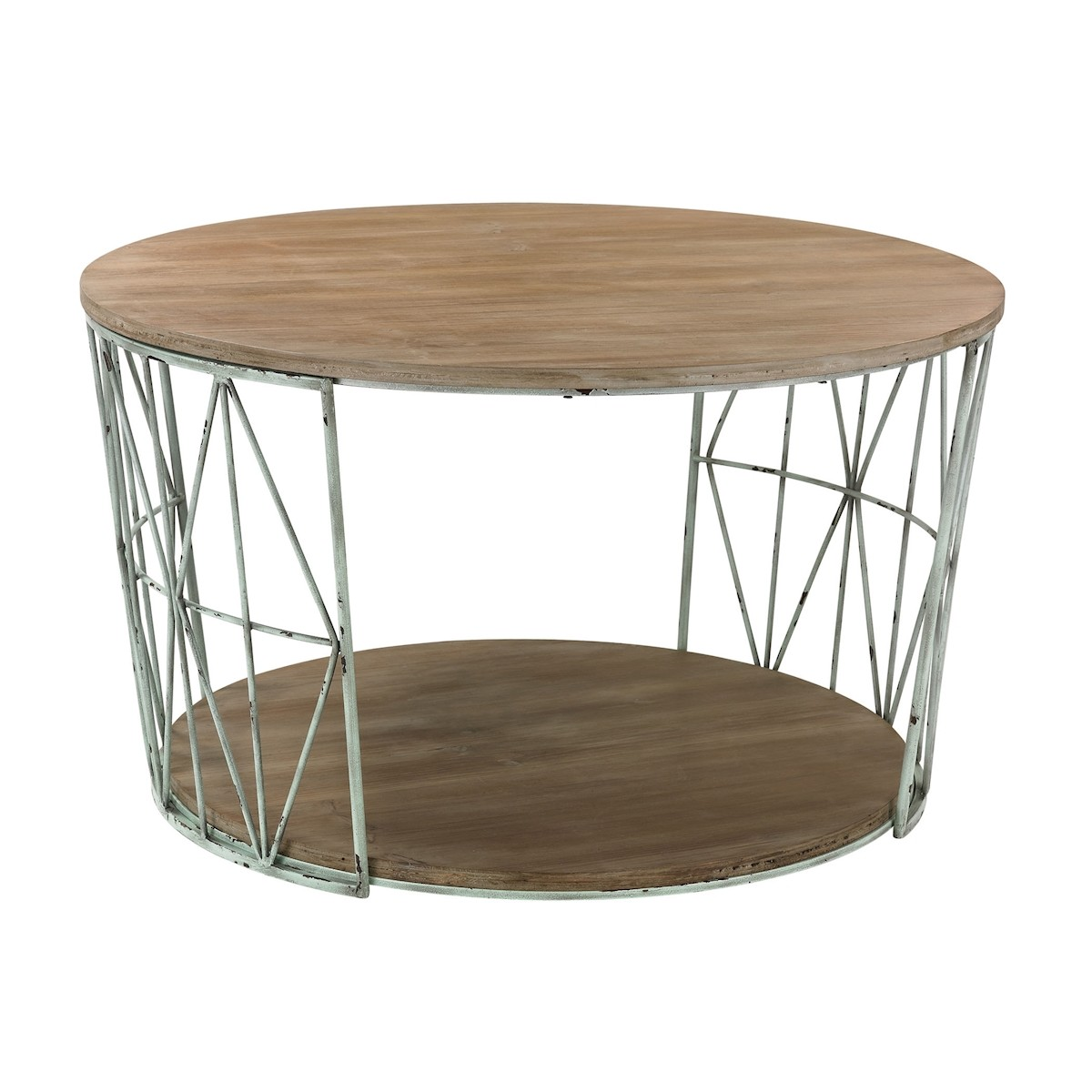 Round Cocktail Table in Wood and Metal | Elk Home